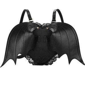 Black Bat Heart Backpack Wing Gothic Goth Punk